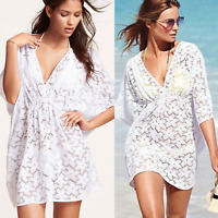 Women Beach Bikini Cover Up Sarong Floral Lace Crochet Summer Dress Top