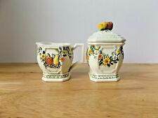 Vintage Lefton Creamer and Lidded Sugar Bowl Fruit and Flowers Pattern 6756