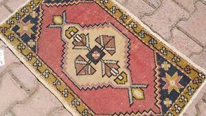 Oushak Turkish Doormat Rug 2x3 RED Vintage Anatolian Handmade Small Kilim Rug