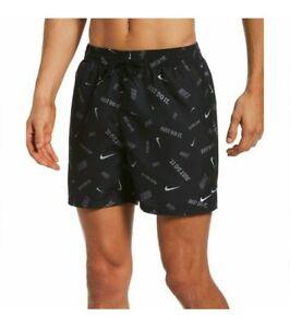 """Nike XL Essential 5"""" Swim Shorts Black Multi Logo AOP NESSB591-001 MSRP $52 Grey"""