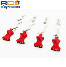 Hot Racing 1/10 Red Aluminum EZ Pulls (4) Body Clips (8) AC03EZ02