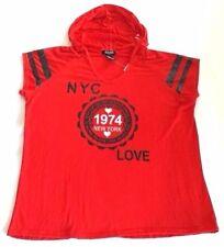 ROUGE NEW 1974 NYC LOVE Print Hoodie Knit Sweat Crossfit Tee Petites Plus 4X QCO