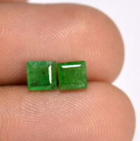 0.91 Cts Certified Natural Emerald Square Cut Pair 4.50 mm Deep Green Gemstones