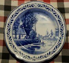 "9.4"" Vintage Dutch Plate Wall Charger Delft Blue - Farm Water Boat Landscape -"