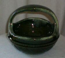 Vintage Hull Art Pottery Green Basket