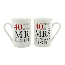 AMORE Mr & Mrs Always Right 40th Anniversary Mugs WG67740