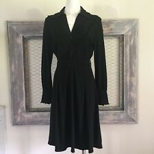 BCBG Maxazria Dress Midi Ruffle Half Button Down Large Long Sleeves Little Black