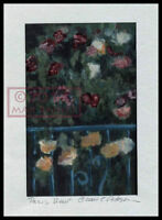 Paris View railing w flowers = Signed ART PRINT = Cathy Peterson = LISTED ARTIST