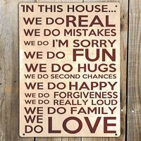 IN THIS HOUSE WE DO LOVE Quote Print On A Metal Sign Shabby Chic Gift Plaque