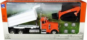 New Ray 1/32nd Peterbilt Dump Truck W/ Kubota SVL95-2s Compact Track Loader