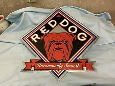 Vtg Red Dog Beer Dog's Face Uncommonly Smooth Tin Embossed Man Cave Bar Garage