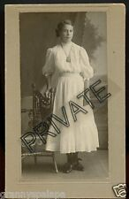 Antique Photo - Lady Standing by Wooden Chair, Watch on chain around neck