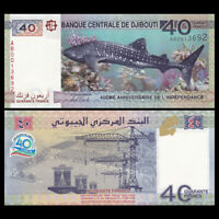 Djibouti 40 Francs, 2017, P-46, Independent 40th COMM., Banknote, UNC