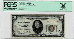 $20 FEDERAL RESERVE NOTE 1929 FR 1870-L PCGS VF25  Cert# 80467149