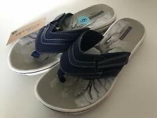 NEW! CLARKS WOMEN'S BRINKLEY KEELY NAVY BLUE WEDGES SANDALS SLIPPERS 6 36 SALE
