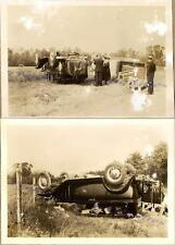 Men Women 1932 Chevrolet Chevy Sedan Farm Truck Wreck Roll-Over Accident Photos
