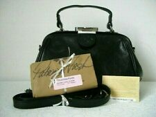 New Patricia Nash Gracchi Smooth Black Leather Frame Satchel $199+