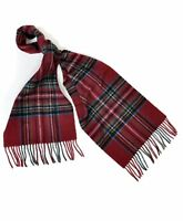 Unisex Red Plaid Pattern 100% Wool Scarf with Tassels