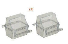 Feeder Seed Water Cup Bird Cage Crystal Clear Plastic Feeder Dish, Pack of 2