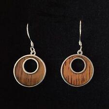 Hawaiian Koa Wood Circle Round Earring