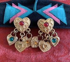 Agatha Paris Vintage Gold-tone Heart Dangle Earrings