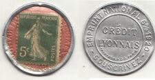 RARE FRANCOBOLLO MONETA  MONNAIE TIMBRE CREDIT LYONNAIS 5 C EMPRUNT 1920 IN FOTO