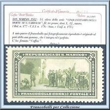 1932 San Marino Garibaldi L. 5 verde oliva n. 175 Cert. Caffaz Nuovo Integro **