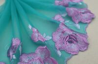 "8/""*1Y Embroidered Floral Tulle Lace Trim~Military Green+Teal Green~Flower Dance~"