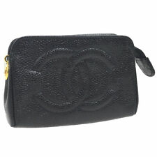 Auth CHANEL CC Logos Mini Multi Pouch Black Caviar Skin Leather Vintage RK12810g