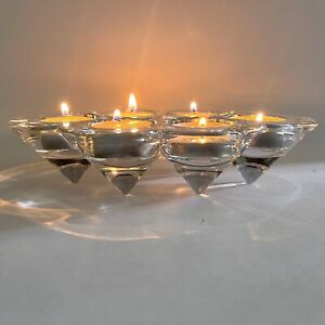 "Clear Art Glass Honeycomb Tea Lite Candle Holder 6 Hole 8.5"" X 5"" X 2"" Unique"