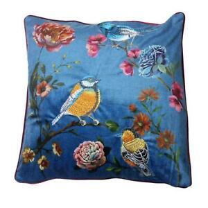 Velvet Satin Cushion Pillow Soft Case Cover Palatial Birds Floral