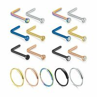 17PC 20G Surgical Steel L-Shape Bend Nose Stud Bar Nose Hoop Ring Body Piercing