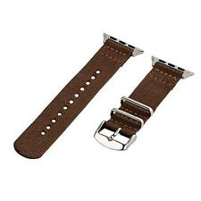 Brown - 2 Piece Classic SS Nylon Watch Band for 42mm Apple Watch