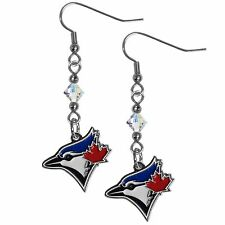 TORONTO BLUE JAYS MLB CRYSTAL DANGLE EARRINGS, BASEBALL JEWELRY