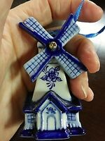 Adorable Delft Blue Dutch Porcelain Windmill Kurt S. Adler Christmas Ornament