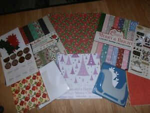 joblot of christmas card making items,12x12 papers,cards,and 2 small kits