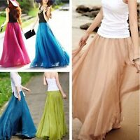 Vintage Womens Ladies Chiffon Dress Dress Long Maxi Boho Skirt Casual Dress