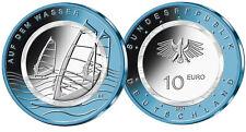 10 Euro Deutschland 2021 bfr Auf dem Wasser Luft bewegt Niob Polymer Satz  A-J