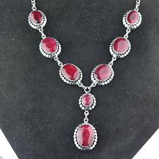 "Ruby gemstone statement Necklace 925 Sterling Silver 16"" fine Jewelry 46.39g"