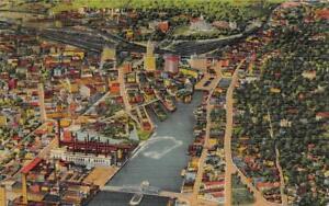 PROVIDENCE, Rhode Island RI   CITY & BRIDGE  Bird's Eye View  ca1940's Postcard
