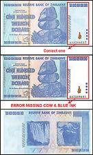 Zimbabwe 100 Trillion Dollars, AA/2008, P-91, UNC, ERROR MISSING COW & BLUE INK