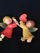 Set of 2 Vintage Anri Angel Christmas Ornament Stard  Italy Ferrandiz Holiday
