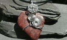Handmade Natural Red Jasper Gemstone Silver Wire Wrapped Pendant with cord