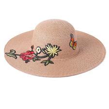Women's Wide Brim Floppy Straw Beach Sun Hat With Flowers & Butterfly SHT3281