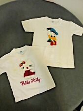 Lot of Two Vintage Kids Embroidered Donald Duck Sz 6 & Hello Kitty 2T T-Shirts
