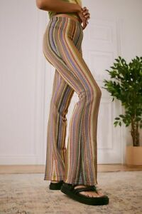 Urban Outfitters UO Festival Flare Trousers Multicoloured M UK 10 BNWT New £36