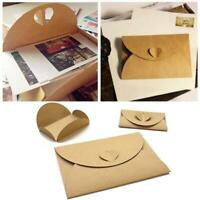 50x Handmade Kraft Paper Envelopes with Heart Clasp For Photo DIY Gifts Vintage
