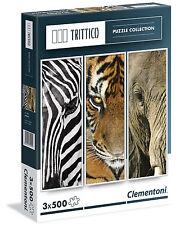 Puzzle 3 x 500 Teile Trittico: Animals Clementoni (39307) Elefant Tiger Zebra