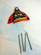"LADYBUG WIND CHIME 10"" Red Black Metal WHERE DO YOU ROAM"