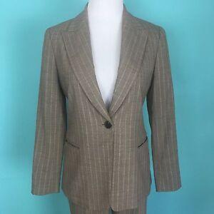 Lafayette 148 Beige Pinstripe Wool Blend Suit Size 6 Petite